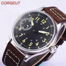44mm corgeut estéril mostrador preto 17 jóias 6497 mão enrolamento movimento relógios de pulso masculinos
