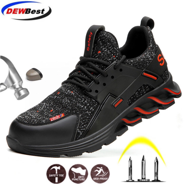 DEWBEST 2020 Steel Toe Work Safety Shoes for Men Puncture Proof Security Boots Man Breathable Light Industrial Casual Sneakers