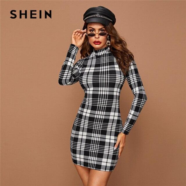 SHEIN Black And White Plaid Stand Collar Elegant Bodycon Dress Women 2019 Autumn Long Sleeve Office Ladies Skinny Mini Dresses