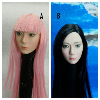 1/6 Girl Head Sculpt with Pink Black Hair for 12''Action Figures   Bodies Accessories
