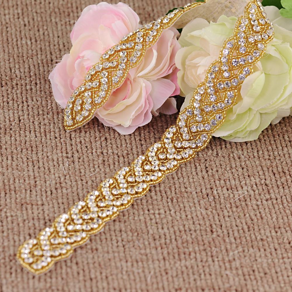 TRiXY S216-G Sparkly Gold Wedding Belt Rhinestone Sash Belt Beaded Bridal Belt Women Belts Wedding Sashes Golden Waist Belt
