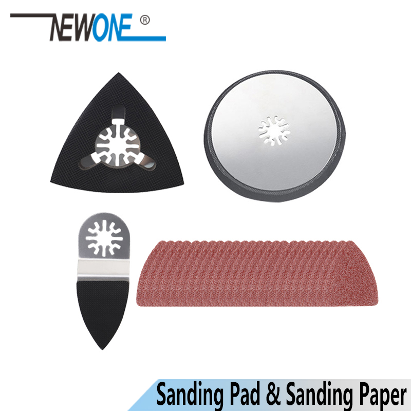 NEWONE Finger Sanding Pad Triangle Sanding Pad Round Sanding Pad With Sanding Paper For Oscillating Tool Multimaster Renovator