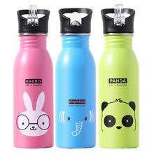 Mignon enfants bouteille d'eau Portable en plein air en acier inoxydable bouteilles d'eau mignon Animal modèle tasse boisson froide bouteille avec de la paille