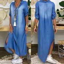 Women summer denim dress Short Sleeve long dress Fashion V-Neck  Ankle Length Dress robe longue femme