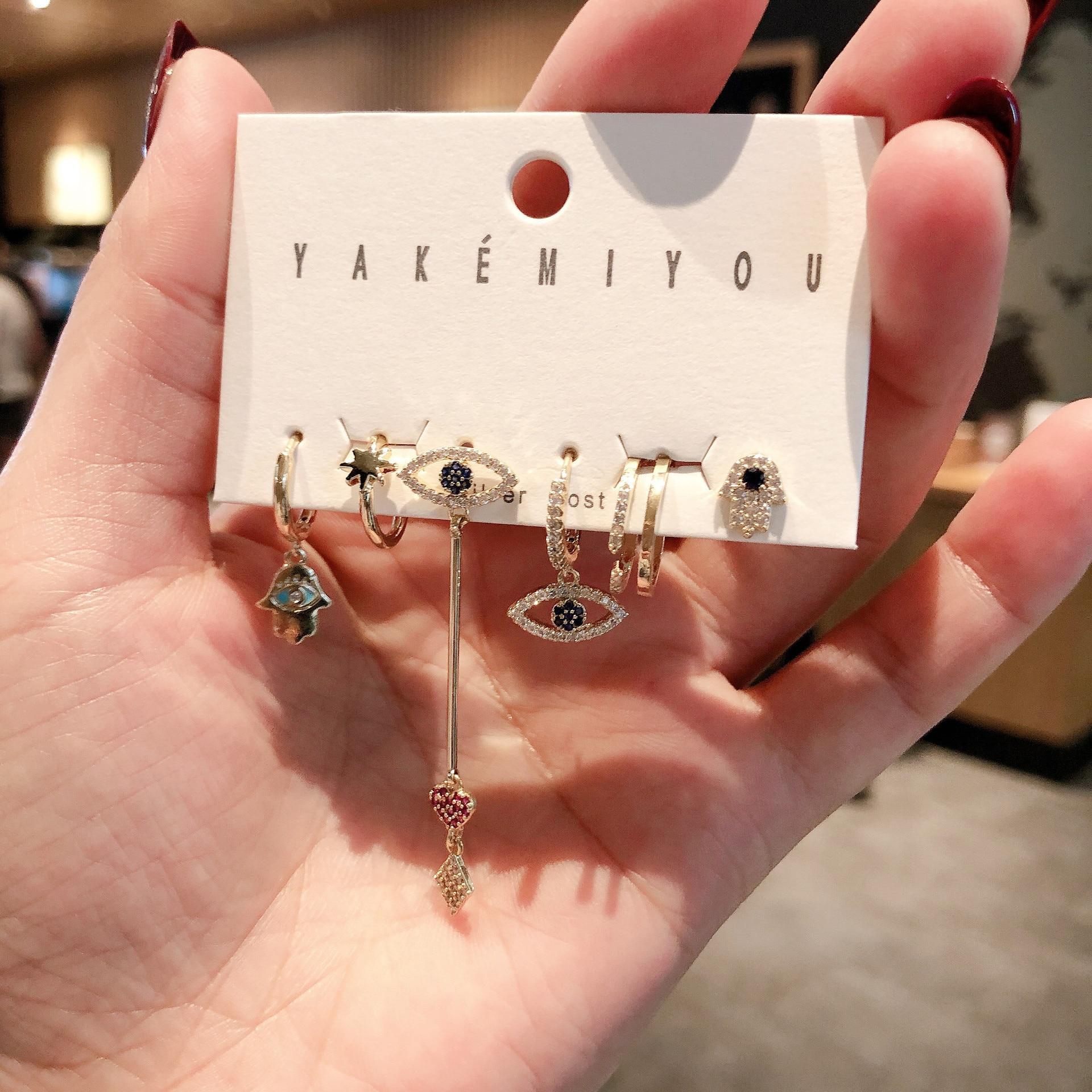 Модные серьги с кубическим цирконием в виде пальмы и сердца, изысканный комплект из 6 предметов, серьги для женщин, ювелирные аксессуары, 2021