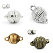 Handmade Necklace Clasps-Ball Magnetic Silver-Color Findings Charms Jewelry Diy Doreenbeads