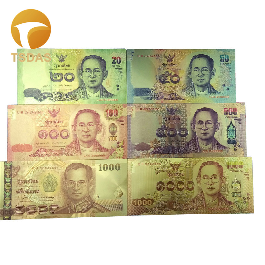 Full Sets 24K Gold Banknote Thailand 20-1000 Foil 6pcs/lot as Business & Christmas Gifts