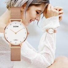 Часы женские DOM топовые брендовые Роскошные Кварцевые часы, повседневные кварцевые часы с кожаным сетчатым ремешком, ультратонкие часы, часы Relog для женщин, с ремешком, с ремешком, на ремешке, на ремешке, с ремешком, на ремешке, для женщин