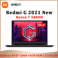 2021 New Xiaomi Redmi G Gaming Laptop 16.1Inch AMD Ryzen7 5800H Geforce RTX 3060 144Hz IPS Screen 16GB 512GB SSD Game Notebook 1