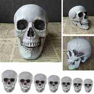 Statues Sculptures Halloween Decorations Artificial Skull Head Model Plastic Skull Bone Scary Horror Skeleton Party Bar Ornament