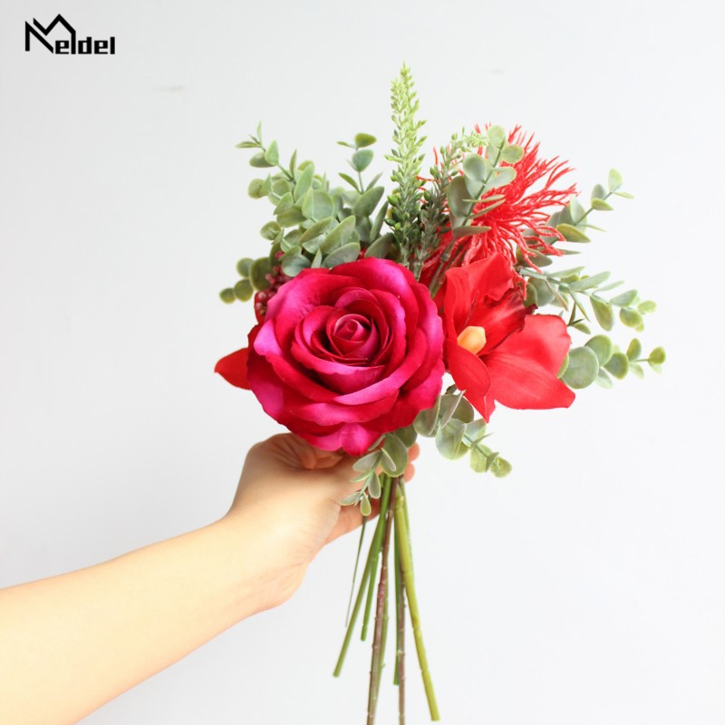 Meldel Flower Bouquet Handmade Wedding Bouquet Flower Bridal Bouquets Red Artificial Silk Rose Orchid Wholesale Wedding Supplies
