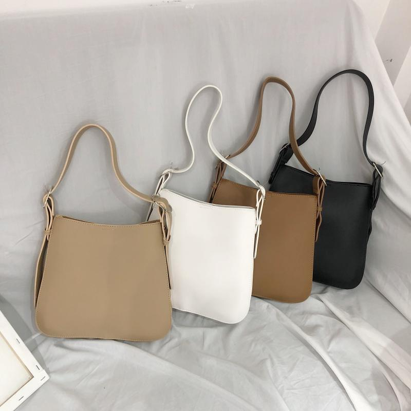 AIS WOMEN'S Bag 2019 New Style Korean-style Minimalist Versatile Handbag Elegant Solid Color Ulzzag Shoulder Toth(China)