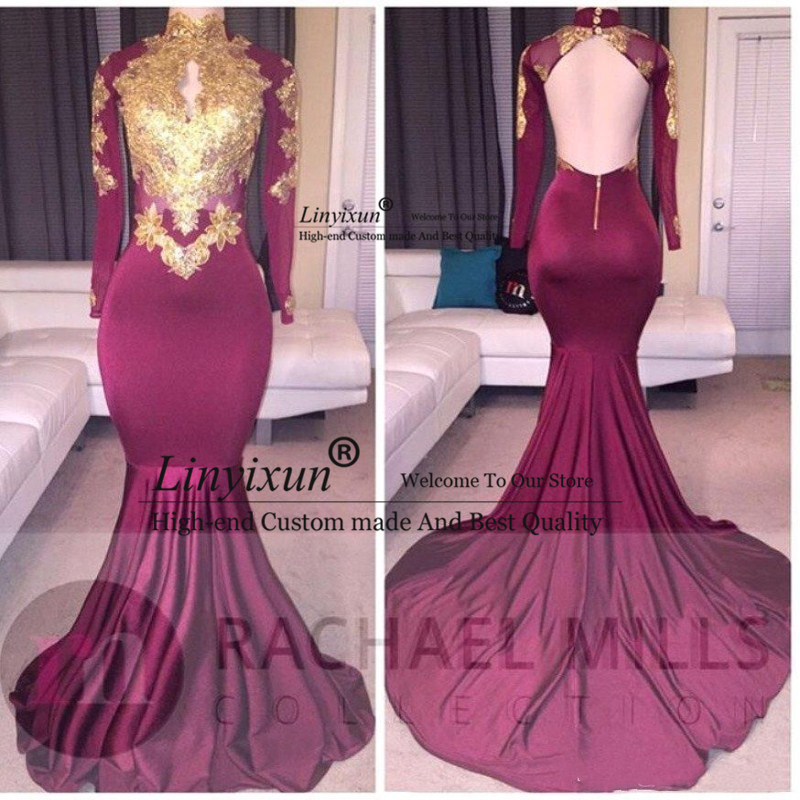 2020 African Burgundy Long Sleeve Gold Lace   Prom     Dresses   Mermaid Satin Applique Beaded High Neck Backless Evening   Dresses