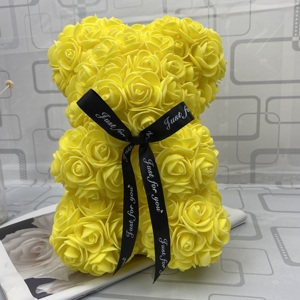 Image 3 - Prezent walentynkowy miś z róż 25cm, czerwona róża, miś, róża, kwiat, sztuczna dekoracja, świąteczne prezenty, dla kobiet, walentynki, prezent,gorący