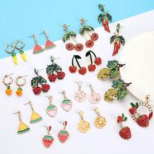 Pauli manfi brincos femininos moda jóias 2020 bonito moda popular metal frutas forma cereja earing festa presente da menina
