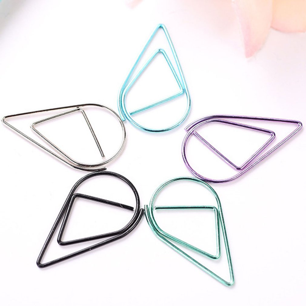 10pcs/pack Metal Water Droplets Shape Paper Clips Colorful Kawaii Bookmark Office School Stationery Marking Album Clips