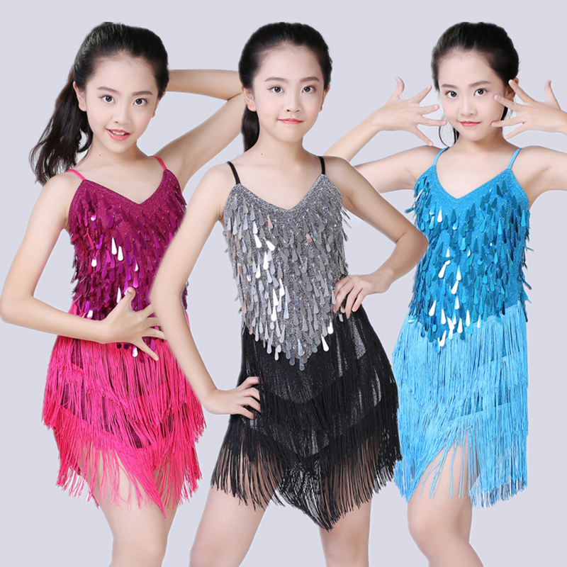 Children Latin Dance Dress Cha Cha Competition Latin Dress For Girls Sequins Dancing Costumes Kid Performance Show Stage Outfits