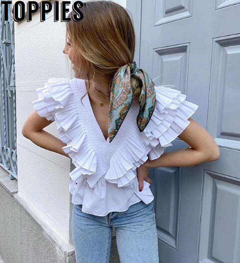 White Tops Summer Sleeveless Crop Top Sexy Deep V-neck Blouses Vacation Beach Lolita Clothes