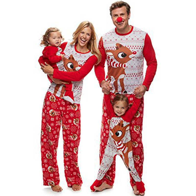 New 2019 Family Christmas Matching Clothes Outfits Sets Xmas Unisex Animal Printed Nightwear Home Wear Pajamas Clothing Set