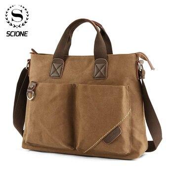 Scione Men Canvas Portable Handbag Business 2020 Fashion Casual Vintage Multifunction Shoulder Bag Leisure Handbag Dropshipping