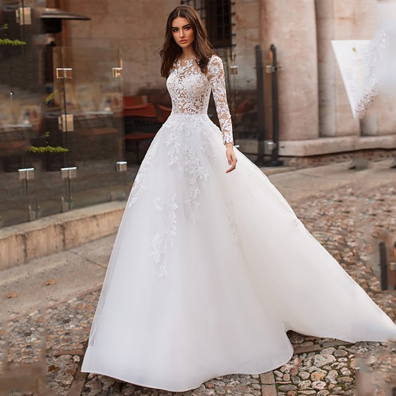 Long Sleeves Tulle Wedding Dresses A Line Lace Appliques Wedding Gowns Back Button See-through Bridal Dress Dubai 2019