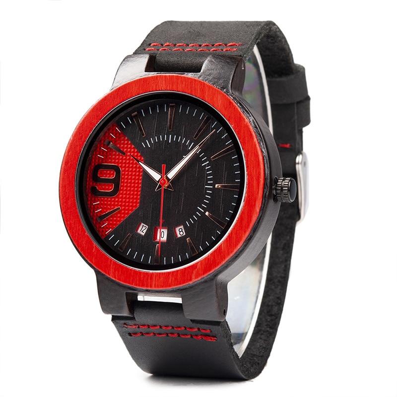 Мужские часы BOBO BIRD, мужские Модные наручные часы из красного сандалового дерева, кварцевые мужские часы, наручные часы под платье, 2020 топ-бренд