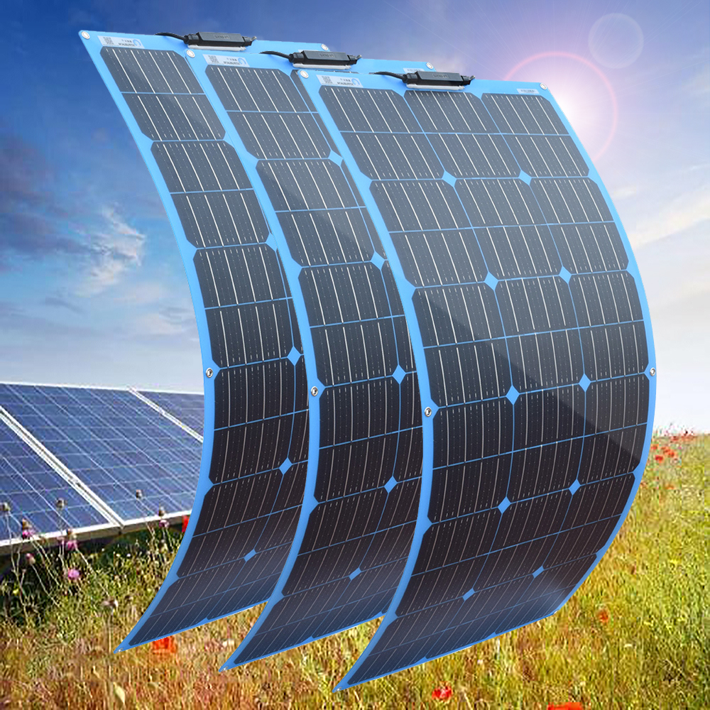 flexible Solar Panel 300w 18V 12V 24V charger Light weight Monocrystalline cells solar battery charger kit for 12v car boat RV image