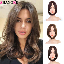 SHANGKE Synthetic Natural Side Bangs Clip In Bangs Hair Extension For Black Women Heat Resistant Postiche Fake Hair Blonde Brown