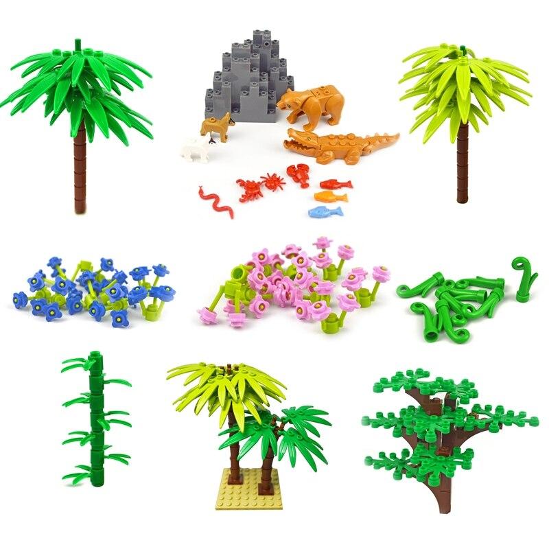 Аксессуары для городского дома, строительный блок, растение, ствол, ветка, трава, цветок, сад, «сделай сам», кирпичи, опорная плита для реки, с...