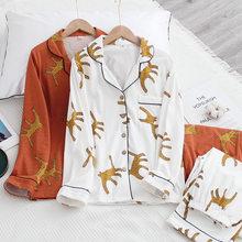 100% de algodón de estilo japonés para mujer, traje de pijama de manga larga con estampado de leopardo para Primavera, otoño e invierno, para el hogar