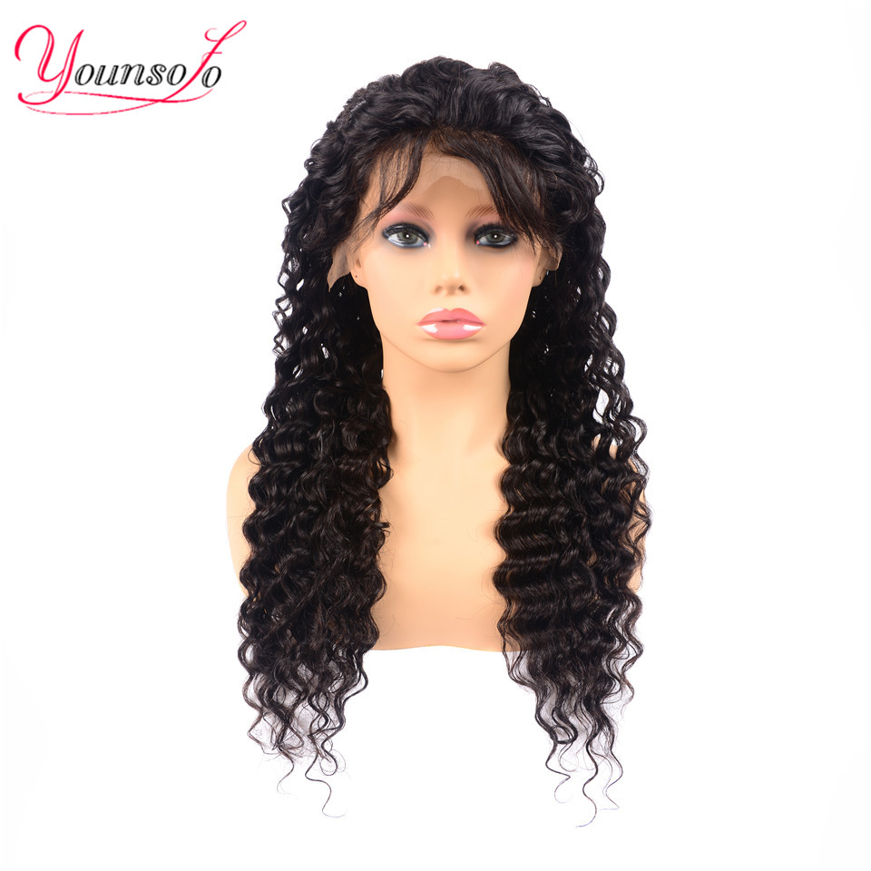 Younsolo Brazilian Deep Wave Lace Front Human Hair Wigs Front Lace Wigs With Baby Hair Pre Plucked Natural Hairline 150% Density