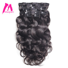 Maxglam clip in human hair extensions 100g/9pcs 140g/10pcs Brazilian Body Wave Remy Hair Natural Color Global(China)