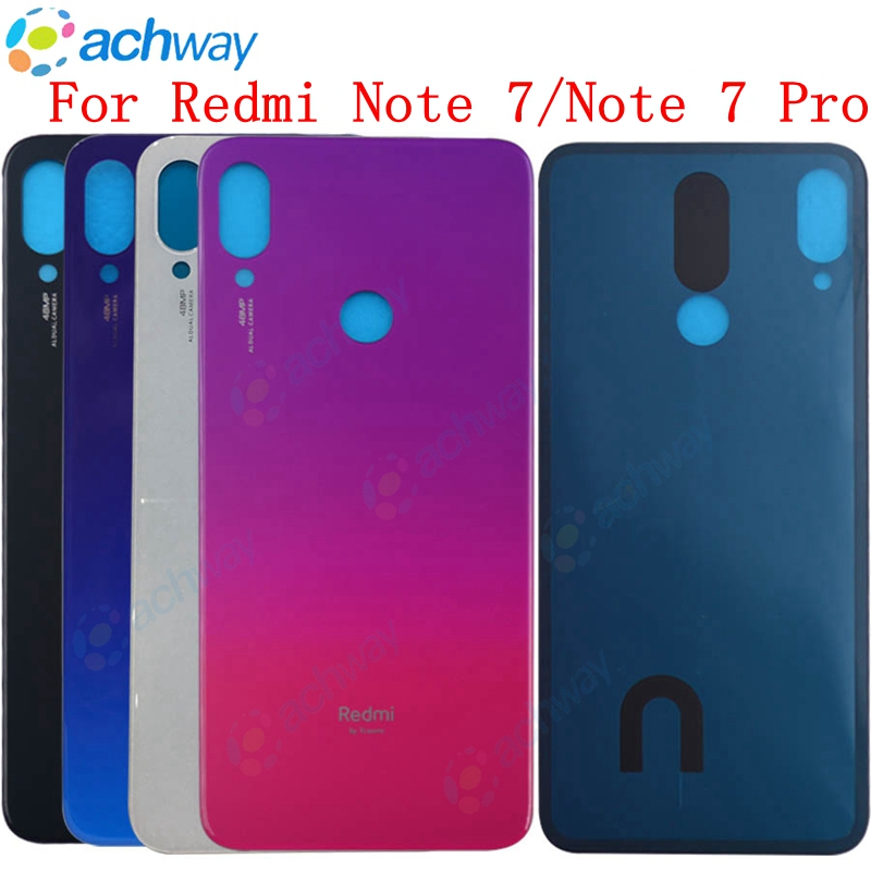 New For Redmi Note 7 Pro Back Battery Cover Door Rear Glass For Xiaomi Redmi Note7 Battery Cover Housing Case  With Glue