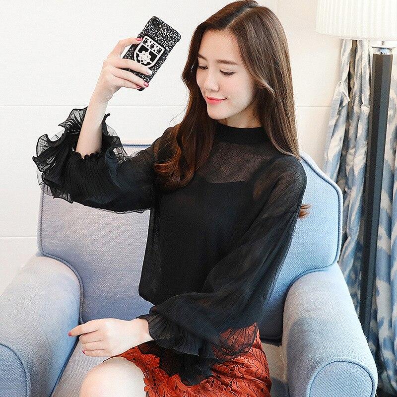 2019 Women tops and Blouses ruffless Summer autumn Long Sleeve White Shirt Casual Female Chiffon Blouse Women Clothing plus size 9