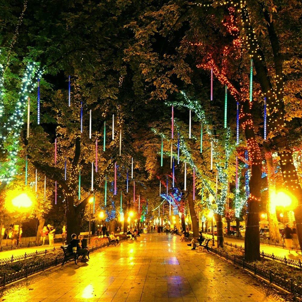 30cm/50cm LED String Light Meteor Shower Rain Christmas Tree Fairy Light Outdoor Garden Raindrop Snow Falling Light Decor