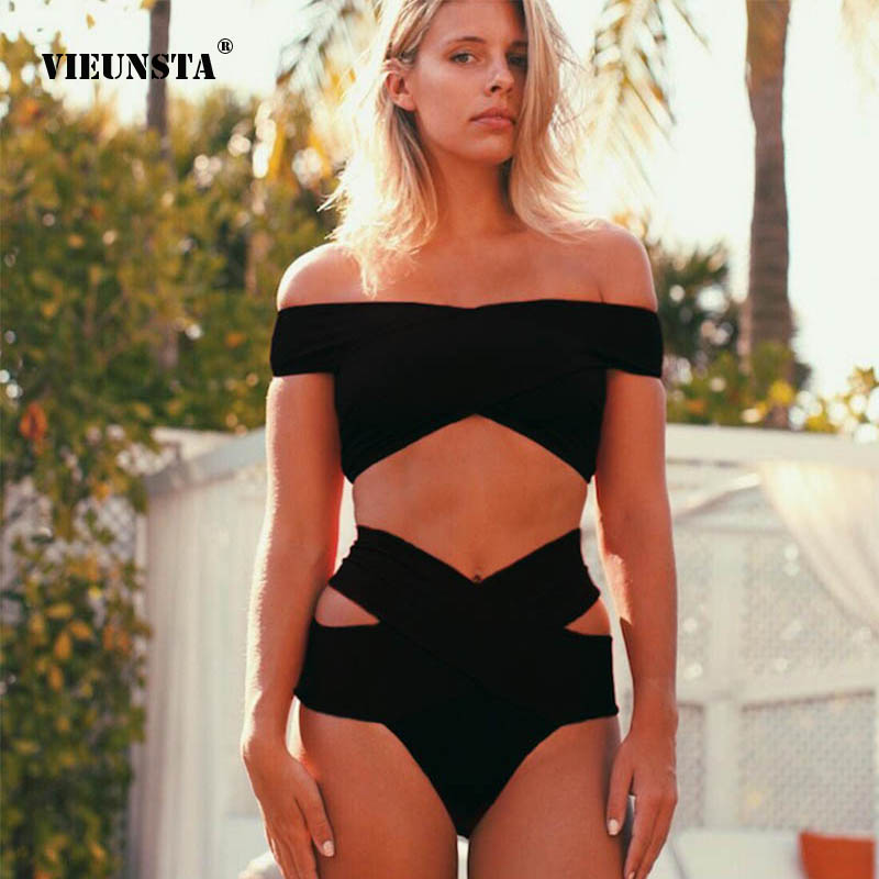 Solid Sexy Wrap Off Shoulder Bikini Swimwear Women Bandage High Waist Bikini Set Swimsuit Cut Out Biquini Bathing Suit Beachwear