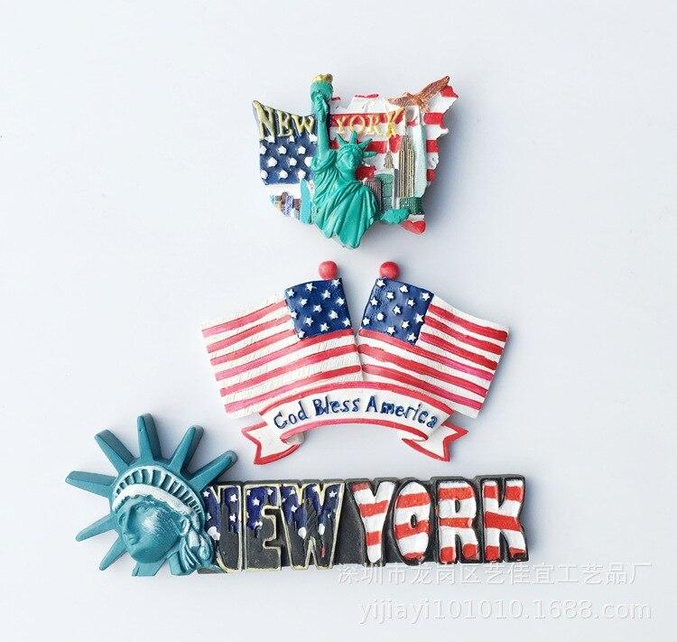 Флаг США, Статуя Свободы, магнитное искусство, Нью-Йорк, холодильник, туристический сувенир, 3-d магниты, декор для холодильников
