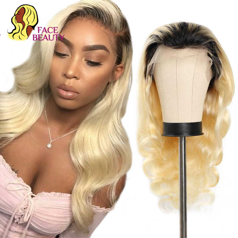 Perruque Lace Front Wig brésilienne Remy naturelle ombré-Facebeauty | Body Wave, couleur Blonde 1B 150%, longue densité de 613, perruque Lace Wig, pre-plucked