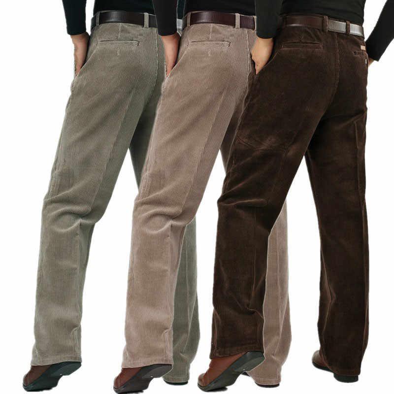 Pantalones Informales Para Hombre Pana Gruesa De Pana Pantalones Sueltos De Cintura Alta De Talla Grande Para Invierno Pantalones Informales Aliexpress
