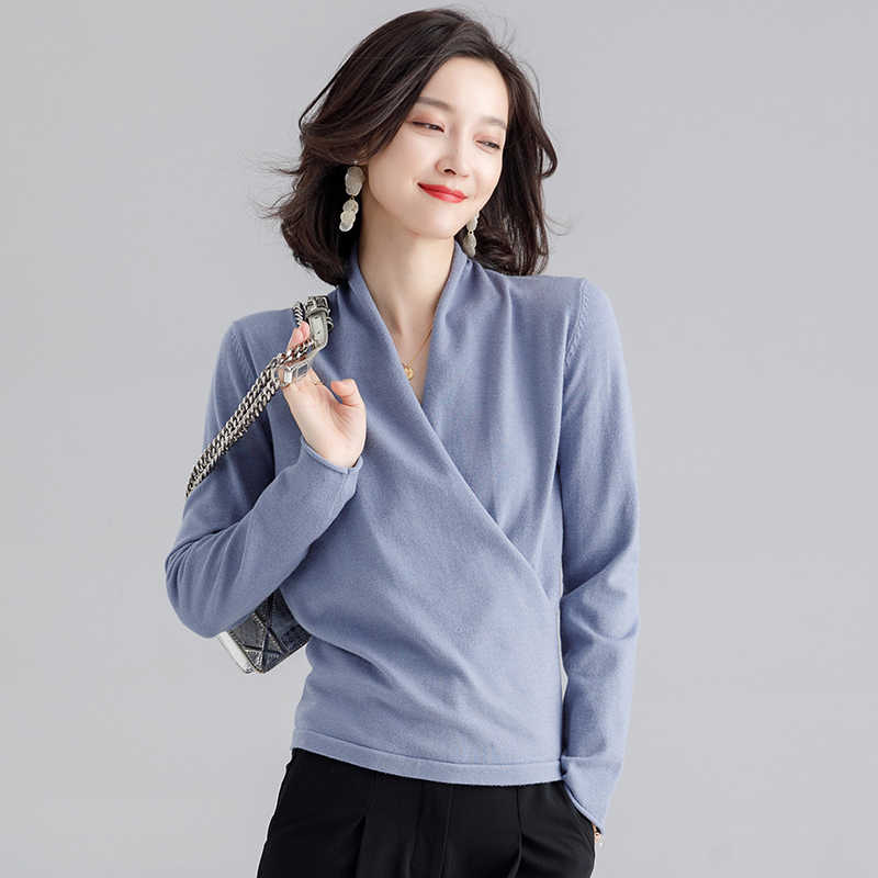 Zhichu mode à manches longues pull à lacets nouvelles femmes Sexy col en V croix tricoté mince pull femme solide pull tricot vêtements