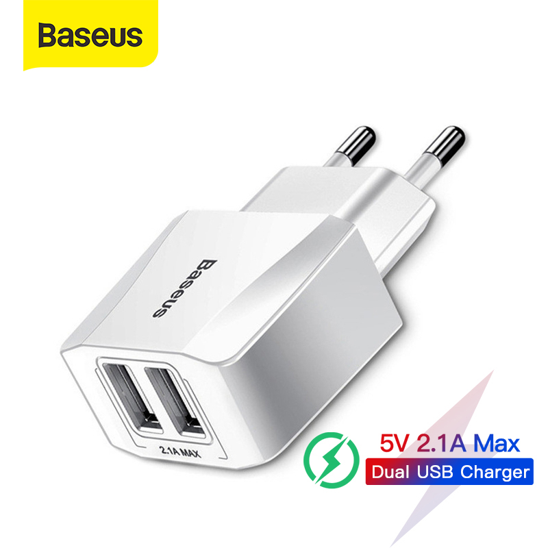 Baseus Dual USB Charger EU Plug 2.1A Max Fast Charging Portable Phone Charger Mini Wall Adapter Charger