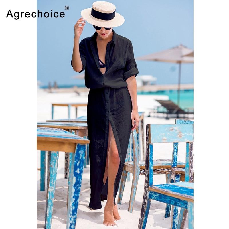 2019 Sexy Chiffon Beach Cover Up Bikini Swimwear Women Cover Up Beach Dress Shirt Long Tunics Bathing Suits Cover-Ups Beachwear 3
