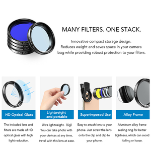 Image 5 - APEXEL 7in1 Full Filter Lens Kit Full Red Yellow Color ND32 CPL Star Camera Lens Filter With 37mm clip for smartphones 37UV F