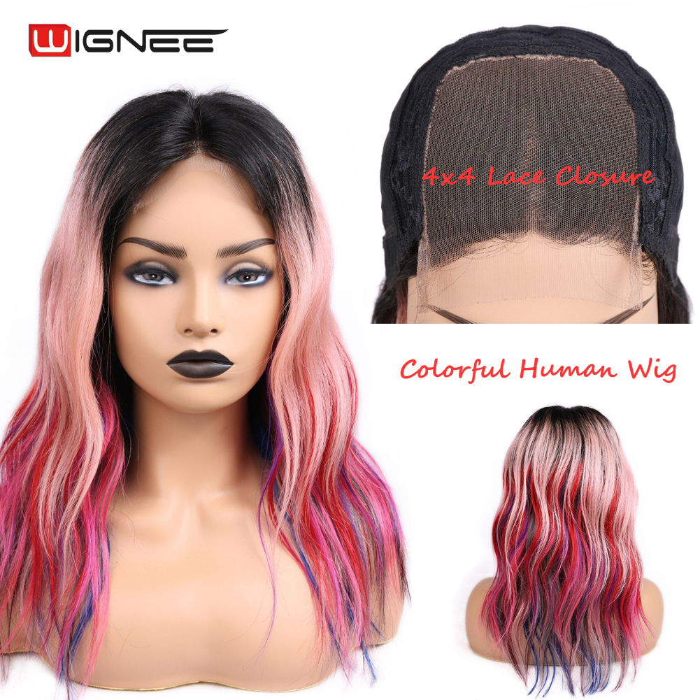 Wignee 4x4 Lace Closure Colorful Human Hair Wigs For Women Middle Part Red/Pink/Purple Rainbow Cosplay Brazilian Remy Human Wigs