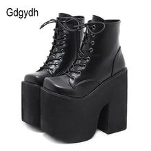 Gdgydh wysokość 17cm Chunky Heel buty motocyklowe kobiety platformy botki Punk Cosplay gruba podeszwa Goth dziewczyny buty duży rozmiar 43
