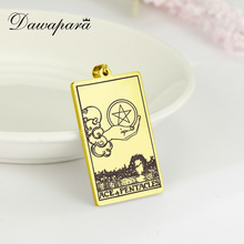 Dawapara Pentacles Tarot Card Pendant for Necklace Stainless Steel Golden Black Jewelry Accessories Charms Pendants