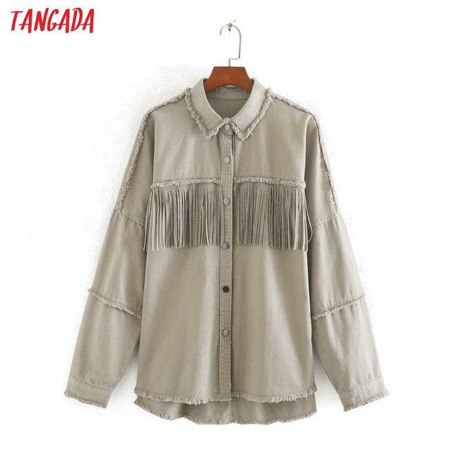 $ US $26.60 Tangada Women boyfriend style solid cotton jacket coat tassel 2020 new female loose oversize Coat CE257