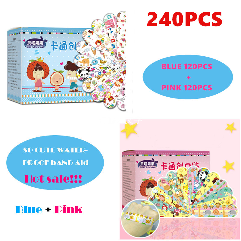 2 Sets 240PCS Cartoon Waterproof Bandage Band-Aid Hemostatic Adhesive For Kids Children Wound Bandage Wound Bandage Band Aid