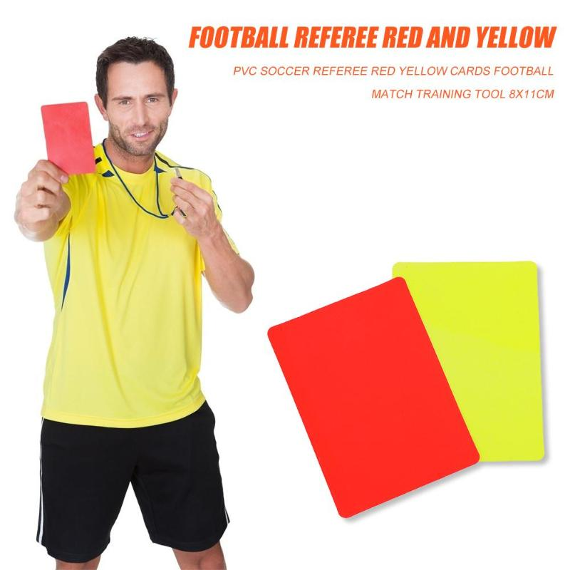 Red Card Classic Delicate Texture PVC Soccer Referee Red Yellow Cards Football Match Training Referee Tool 8x11cm