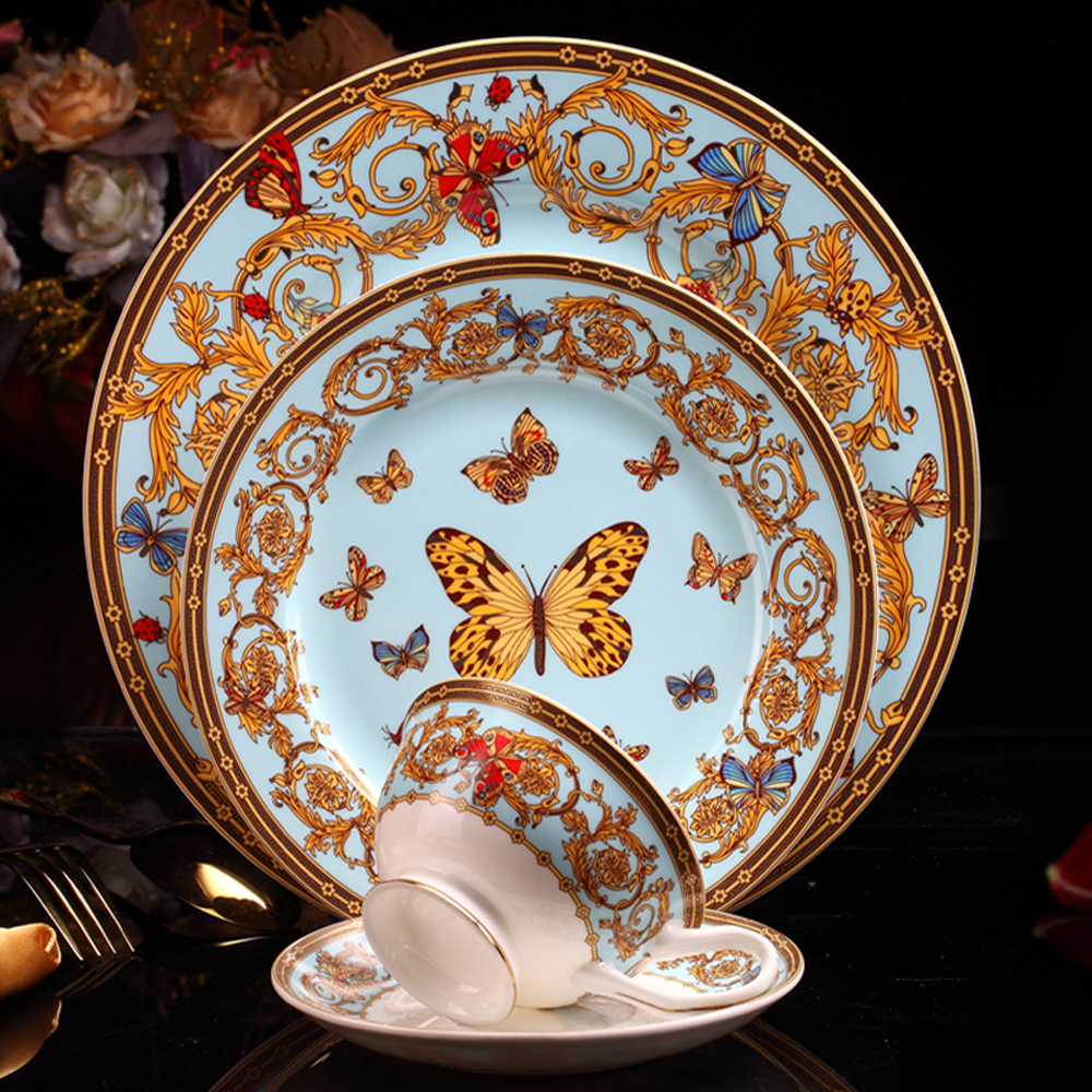 US $6.6 6% OFFBone china Plate Tableware Ceramic plate Dinner Set  Porcelain Dessert Plate Steak Salad Snack Cake Plates butterfly  patternDishes &